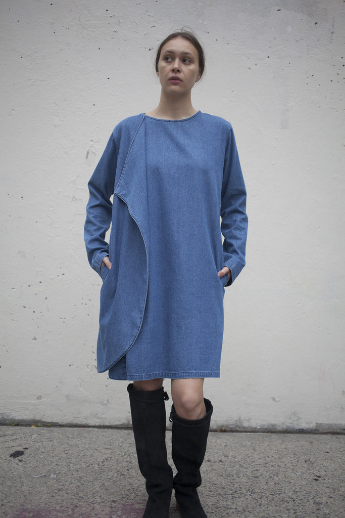 69 Denim Wrap Around Dress in Medium Wash | Oroboro Store | Brooklyn, New York