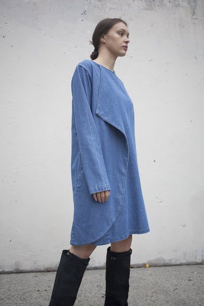 Denim Wrap Around Dress in Medium Wash