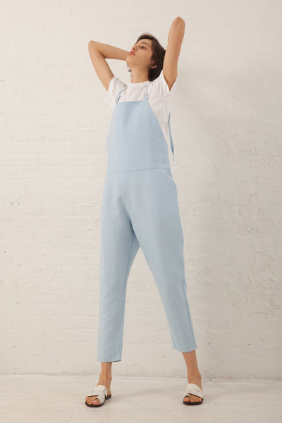 Long Strap Linen/Cotton Overall in Detian Blue