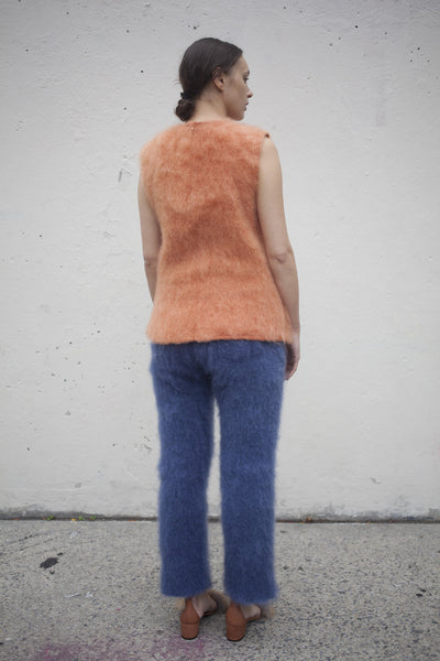 Hand Woven Mohair Top in Salmon