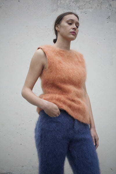 Faustine Steinmetz Hand Woven Mohair Top in Salmon | Oroboro Store | Brooklyn, New York