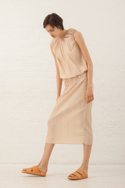 Hache Micro Pleat Skirt in Pale Pink | Oroboro Store | New York, NY