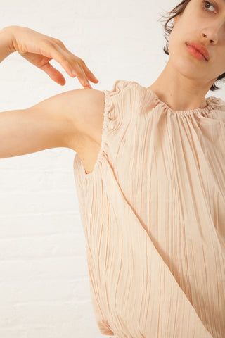 Hache Micro Pleat Top in Pale Pink | Oroboro Store | New York, NY