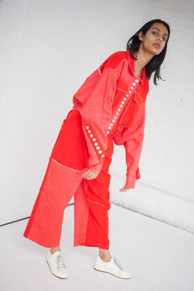 Luna Del Pinal Woven Stretch Cotton Jumpsuit in Red | Oroboro Store | New York