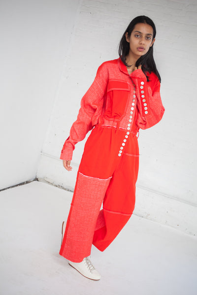 Woven Stretch Cotton Jumpsuit in Red