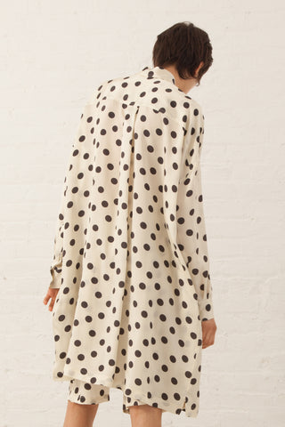 Hache Polka Dot Button Up Shirt in Ivory/Black | Oroboro Store | New York, NY