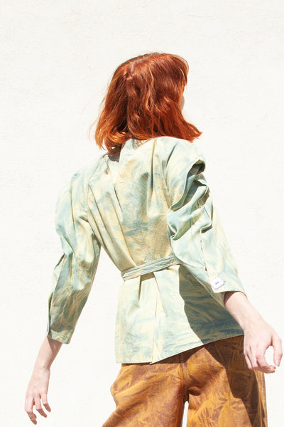 Veronique Leroy Marbled Denim Jacket in Green/Peridot | Oroboro Store | New York, NY