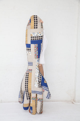 Wiener Times Eugene's Lament Hand Pillow in Navy Patchwork | Oroboro Store | New York, NY