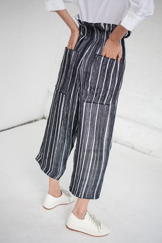 Luna Del Pinal High Waisted Trousers in Black & White Stripe | Oroboro Store | New York