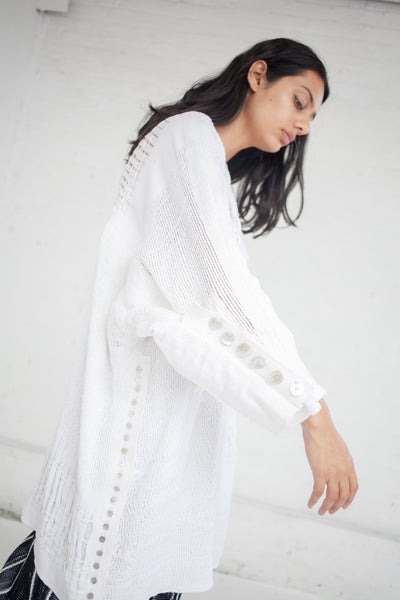 Long Raw Cotton Shirt in Off White