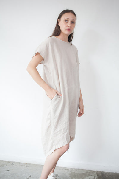Pleated Cocoon Dress in Oatmeal