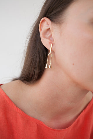 Quarry Petite Verne Earrings in Brass | Oroboro Store | Brooklyn, New York
