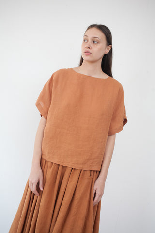 Linen Box Tee in Rust