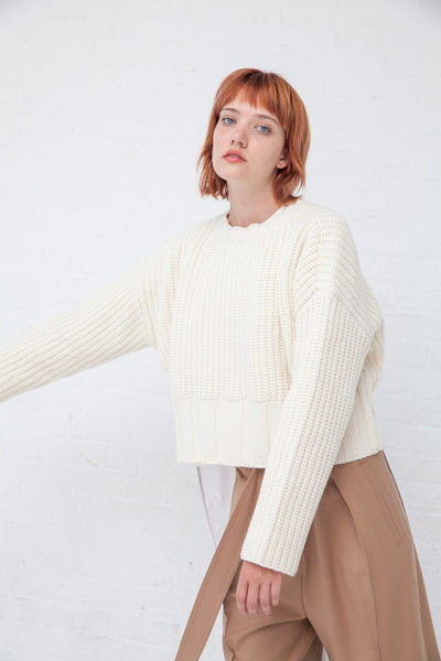 Tomorrowland Crew Neck Sweater in White | Oroboro Store | New York, NY