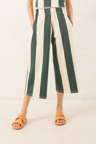 AVN Green Wide Stripe Pant in Green Wide Stripe | Oroboro Store | New York, NY