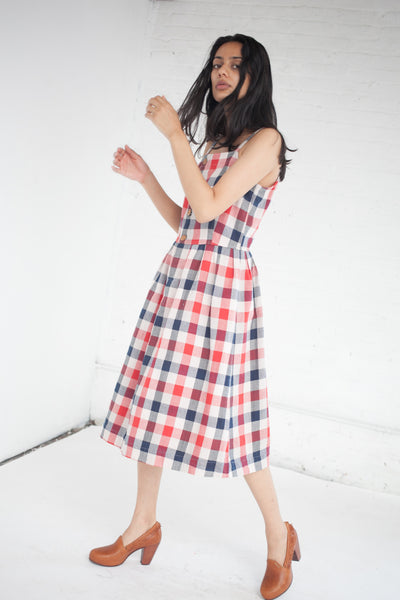 VISVIM Riviera Dress in Red/Indigo Check | Oroboro Store | New York