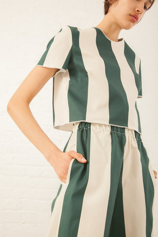 AVN Green Wide Stripe Top in Green Wide Stripe | Oroboro Store | New York, NY
