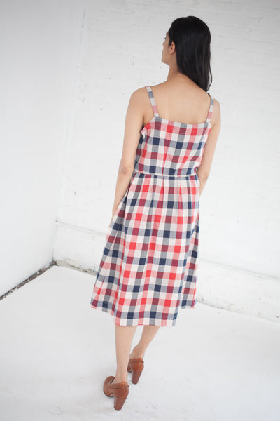 Riviera Dress in Red/Indigo Check