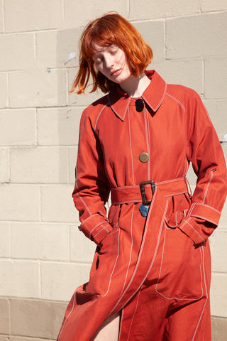 Rejina Pyo Hazel Coat Linen in Brick Red | Oroboro Store | New York, NY