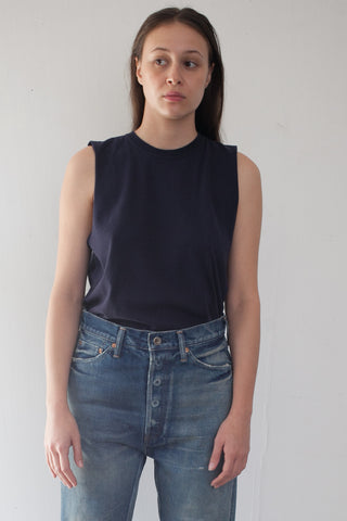 Cotton Vintage Single Jersey Muscle Tee in Navy