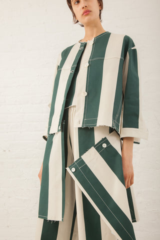 AVN Green Stripe Jacket/Red Stripe Hem in Green Stripe/Red Stripe Hem | Oroboro Store | New York, NY