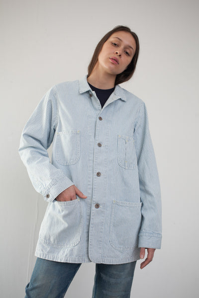 Unisex Hickory Denim Work Coat in Hickory