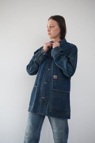 Unisex Denim Work Chore Jacket in Dark Vintage