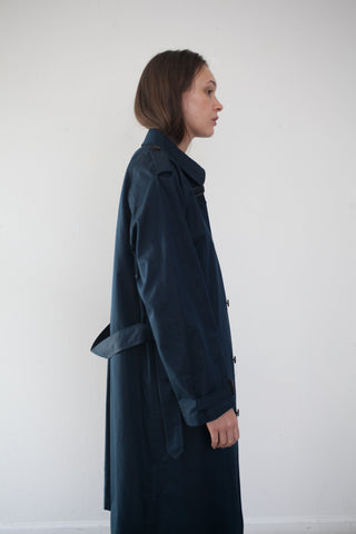 Unisex Union Cloth Single Trench Coat in Navy