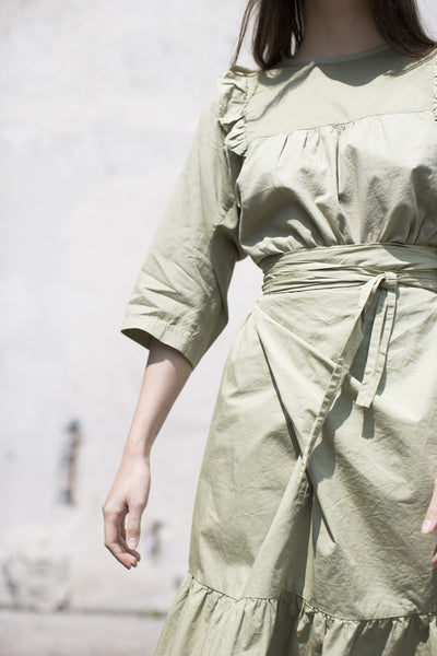 Cosmic Wonder French Twill Frilled Blouse in Natural Green |