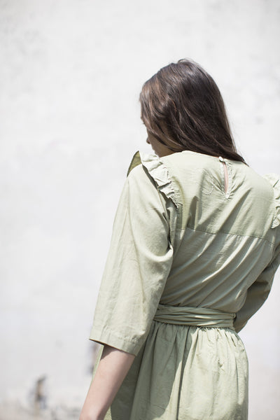Cosmic Wonder French Twill Frilled Blouse in Natural Green | Oroboro Store | Brooklyn, NY