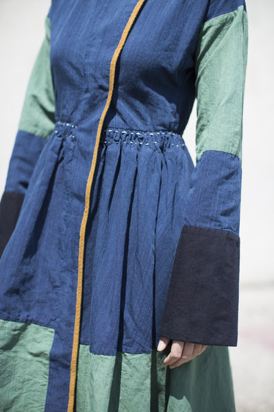 Visvim Kham Robe Coat in Navy and Green Cotton | Oroboro Store | Brooklyn, NY