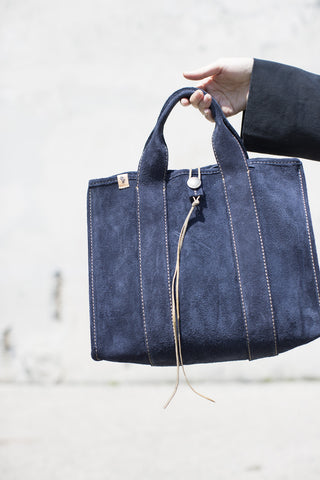 Visvim Teton Tote Bag in Navy Suede | Oroboro Store | Brooklyn, NY