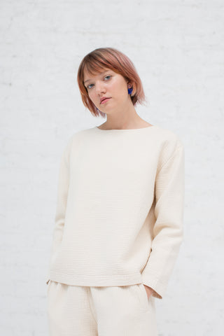 Black Crane Pullover in Cream | Oroboro Store | New York, NY