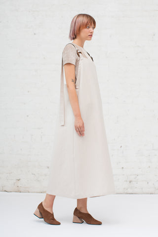 Baserange Duffy Overall Dress in Beige | Oroboro Store | New York, NY