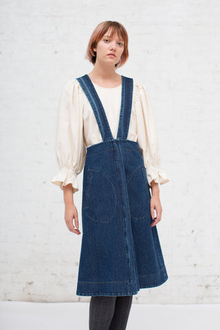 Caron Callahan Renee Suspender Skirt in Denim | Oroboro Store | New York, NY