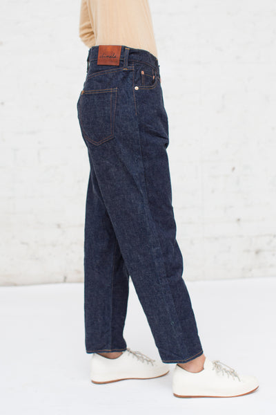Chimala Selvedge Denim Wide Tapered Cut in Rinse | Oroboro Store | New York, NY