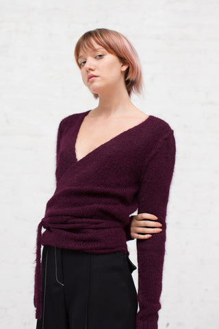 Tiara Wrap Sweater in Bordeaux