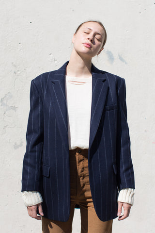 A Detacher Clem Coat in Navy Pinstripe | Oroboro Store | New York, NY