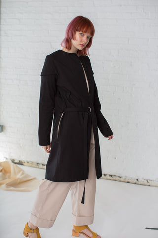 Rowena Sartin Double Sleeve Jacket with Side Slits in Black | Oroboro Store | Brooklyn, New York