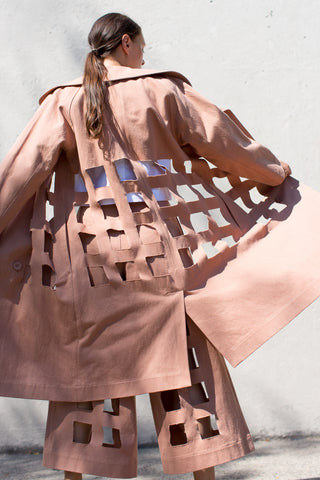 Denim Cutout Trench in Bare