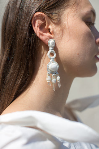 Robin Mollicone Chandelier Earrings in White | Oroboro Store | New York, NY