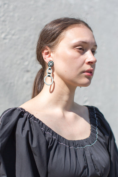 Double Hoop Earrings in White Mountain Jade with White & Black Dot