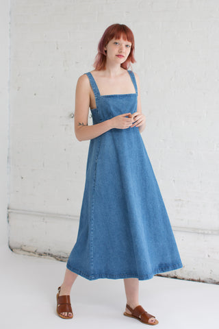 Caron Callahan Flora Dress in Faded Indigo Denim | Oroboro Store | Brooklyn, New York