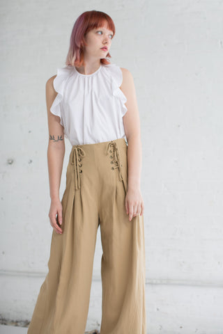 Ulla Johnson Gaucho Trouser in Khaki | Oroboro Store | Brooklyn, New York