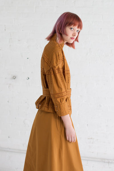 Embroidered Square Shirt in Rust