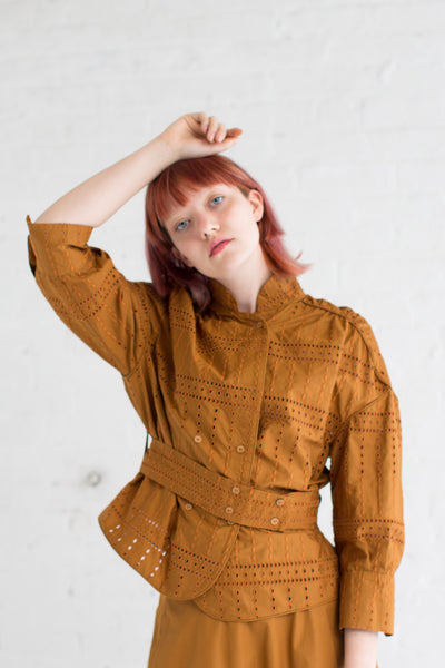 Veronique Leroy Embroidered Square Shirt in Rust | Oroboro Store | Brooklyn, New York