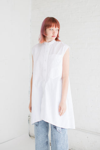 Veronique Leroy Long Sleeveless Shirt in White | Oroboro Store | Brooklyn, New York