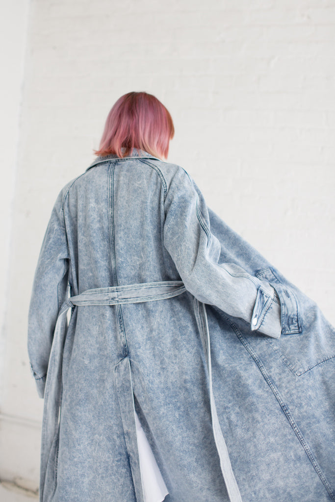 Veronique Leroy Long Trench in Light Blue | Oroboro Store | Brooklyn, New York