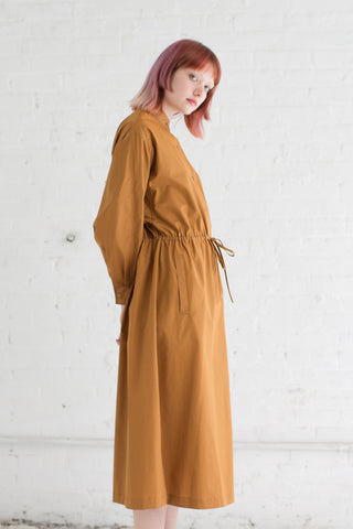 Veronique Leroy Poplin Long Dress in Rust | Oroboro Store | Brooklyn, New York