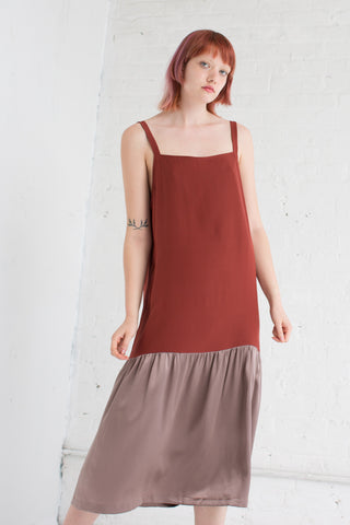 Delfina Balda Silk Drop Waist Dress in Maroon/Mauve | Oroboro Store | Brooklyn, New York